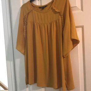 Mustard chiffon short sleeve blouse
